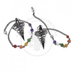 Karnak Black Metal Pendulums with Chakra Chain