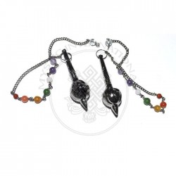 Mer Isis Black Metal Pendulums with Chakra Chain