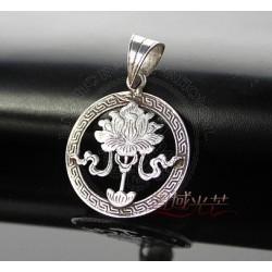engraved lotus pendant