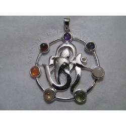 om with ganesha chakra pendant