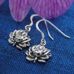 engraved lotus earrings
